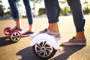 Couple on hoverboards