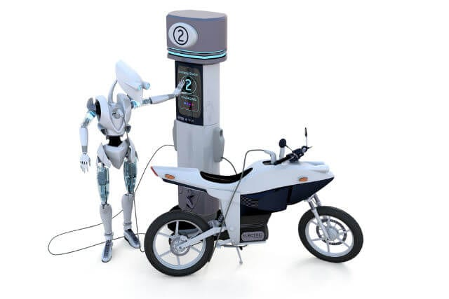Robot charging electric motorcycle
